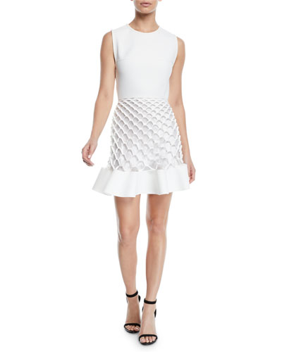 04e2f6e2a92 Sleeveless Crewneck Honeycomb-Cutout Mini Dress Quick Look. Dion Lee