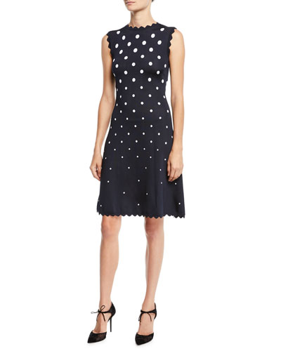 High-Neck Sleeveless Scalloped Fit-and-Flare Polka-Dot Dress