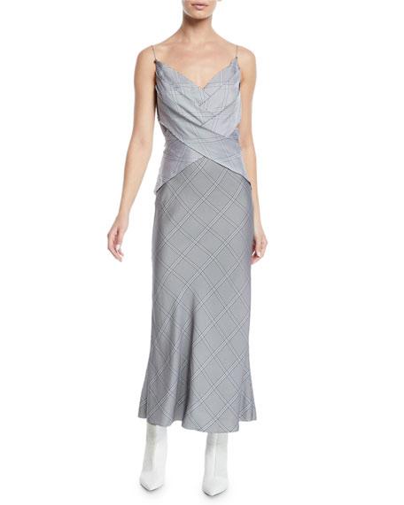 Crisscross Detail V-Neck Cami Viscose Check Dress