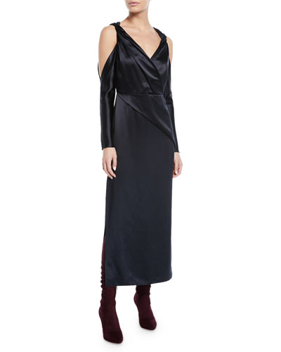 fd9cdd60de4 V-Neck Twist-Front Cold-Shoulder Mulberry Silk A-Line Dress Quick Look. Dion  Lee