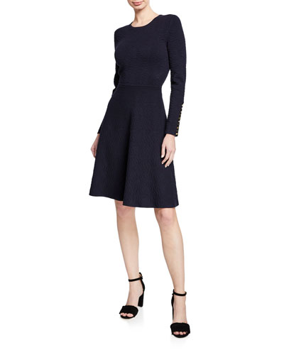 Crewneck Long-Sleeve Fit-and-Flare Pointelle Knit Dress