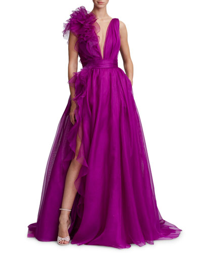 Plunging V-Neck Evening Gown w/ Ruffle Slit & Flower-Detail