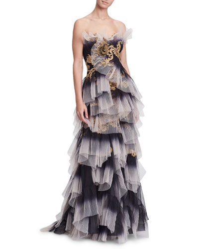 Strapless Ombre-Pleated Embellished Evening Gown