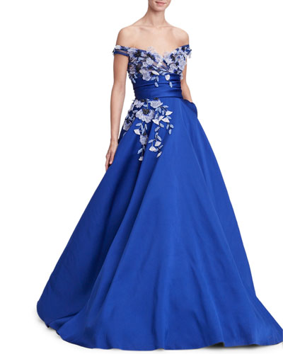 Off-the-Shoulder Floral-Applique Evening Gown