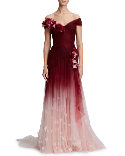 3-D Flower Embellishment Off-the-Shoulder Ombre Tulle Evening Gown