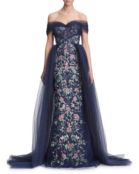 Marchesa Off-the-Shoulder Floral Tulle Evening Gown, NAVY