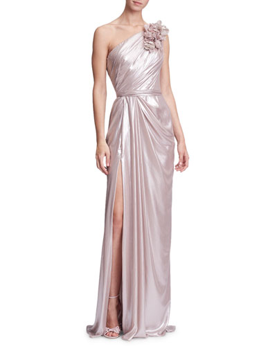 3-D Floral One-Shoulder Draped Evening Gown w/ Front Slit