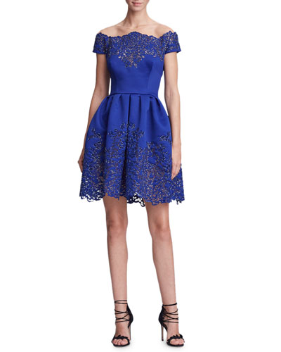Off-the-Shoulder Metallic Laser-Cut Fit-and-Flare Cocktail Dress