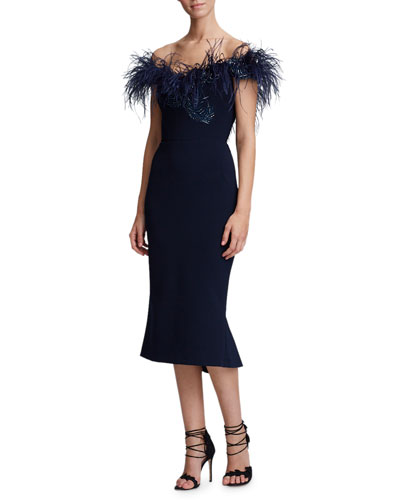 Off-The-Shoulder Ostrich-Feather Trim Cocktail Dress