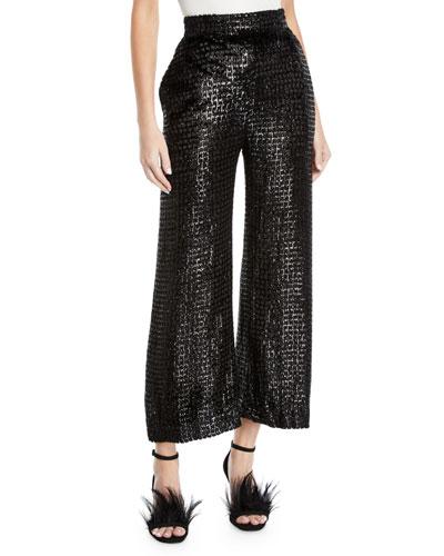 High-Waist Wide-Leg Metallic-Velvet Pants