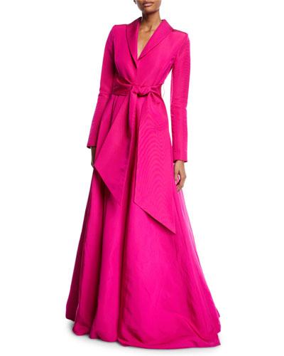 Long-Sleeve Wrap-Belt Silk Faille Evening Ball Gown