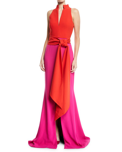 Sleeveless Split-Neck Bicolor Draped Crepe Evening Gown