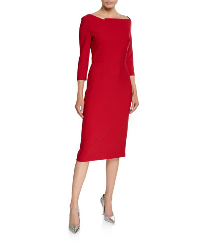 3/4-Sleeve Cropped Wide-Neck Dress