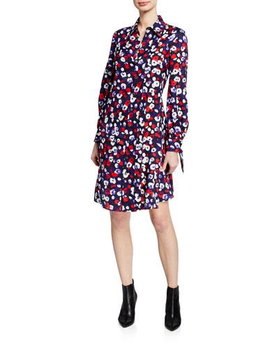 Floral-Print Silk Pleated Shirtdress
