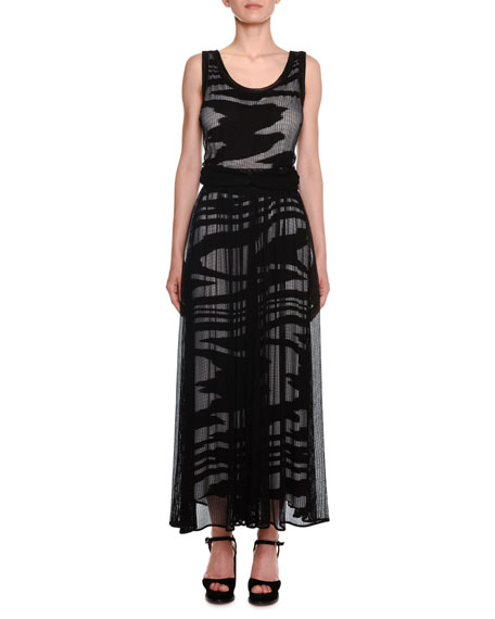 Scoop-Neck Sleeveless Space-Dye Mesh Long Dress