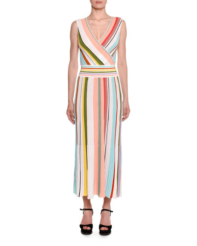 Crossover V-Neck Sleeveless Striped A-Line Dress