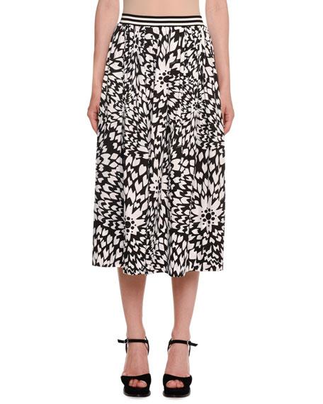 Missoni Dahlia-Print A-Line Midi Skirt w/ Striped Waistband