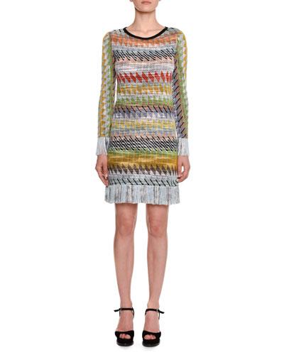 Long-Sleeve Multi-stripe Fringe-Hem Mini Dress