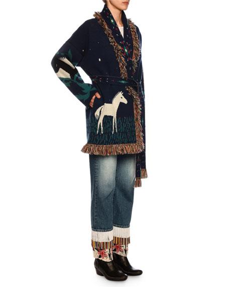 Horses in Love Cashmere Cardigan w/ Fringe