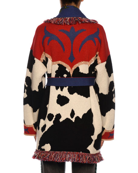 Cow-Intarsia Belted Cashmere Cardigan
