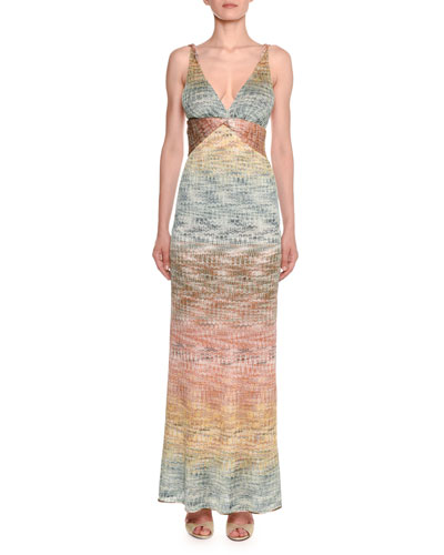 V-Neck Twisted-Waist Sleeveless Metallic Degrade Knit Gown