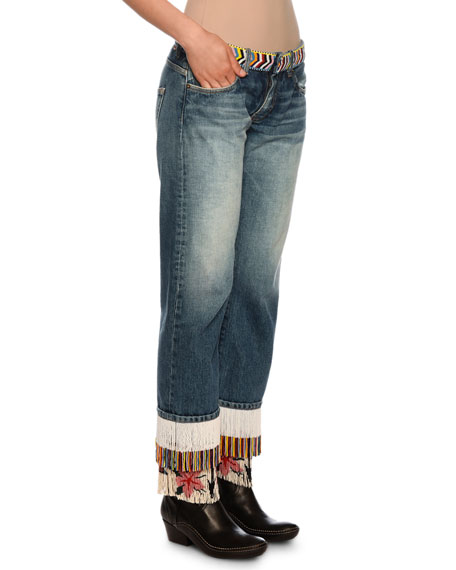 Fringe-Beads Straight-Leg Boyfriend Jeans