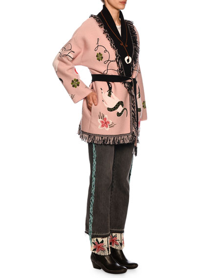 Lucky-Charm Intarsia Wool-Blend Cardigan