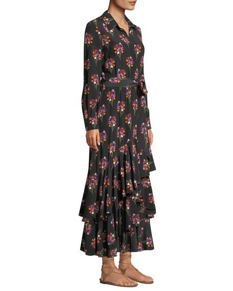 Aurora Bouquet Print Ruffled Shirtdress