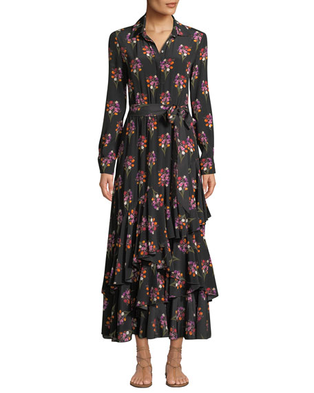 Aurora Bouquet Print Ruffled Shirtdress