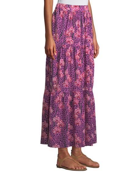 Pia Leopard Orchid Print Tiered Silk Maxi Skirt