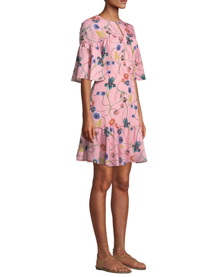 Alba Bell-Sleeve Floral-Print Crepe Dress