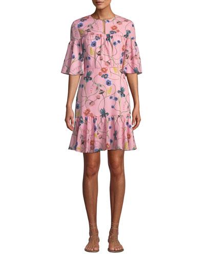 Alba Bell-Sleeve Floral-Print Crepe Dress