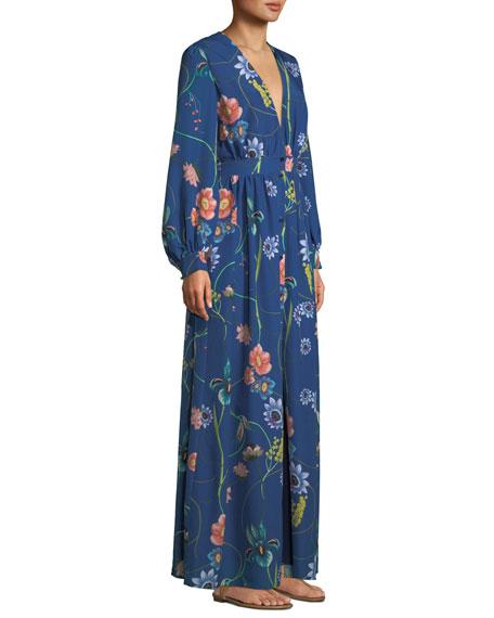 Francesca Deep-V Button-Front Long-Sleeve Floral-Print Maxi Dress