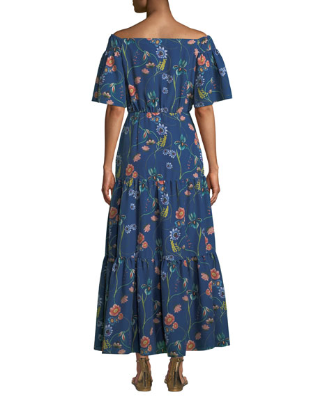 Emelia Off-The-Shoulder Vintage-Floral Tiered Maxi Dress