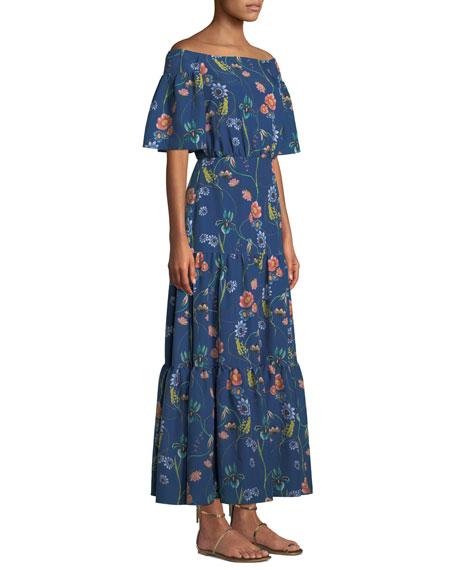 Emelia Off-The-Shoulder Vintage-Floral Tiered Maxi Dress