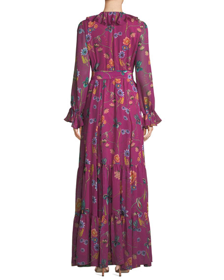 Anna Long-Sleeve Floral-Print Silk Georgette Maxi Dress