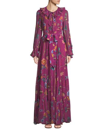 Anna Long-Sleeve Floral-Print Silk Georgette Maxi Dress