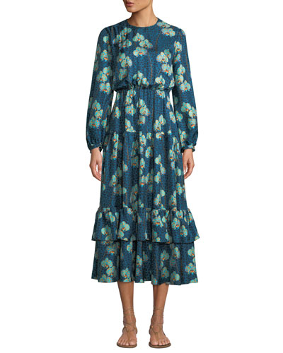 Augustina Long-Sleeve Leopard Orchid Print Silk Twill Long Dress