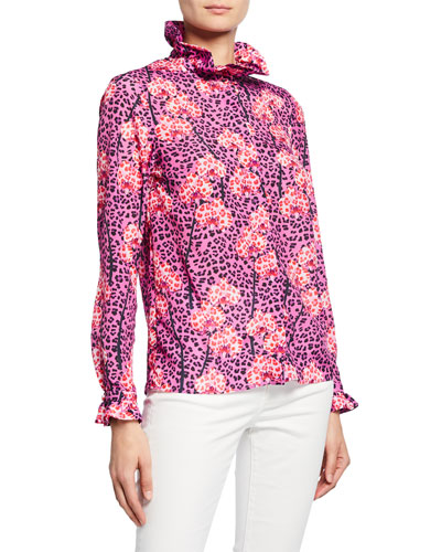 Veronica Leopard-Print High-Neck Frilled Blouse