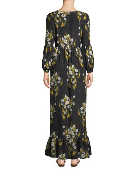 Mina Pouf-Sleeve Button-Front Wheat-Print Crepe A-Line Dress