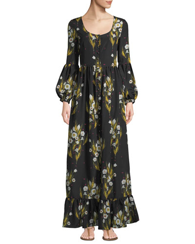 Mina Pouf-Sleeve Button-Front Wheat-Print Crepe A-Line Dress