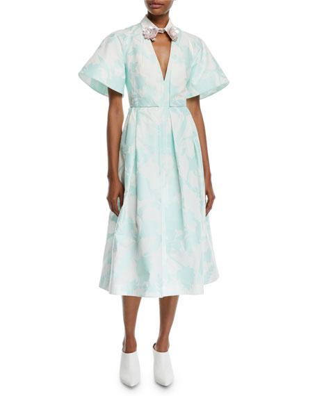 Delpozo Embellished-Collar V-Neck Short-Sleeve Floral-Print