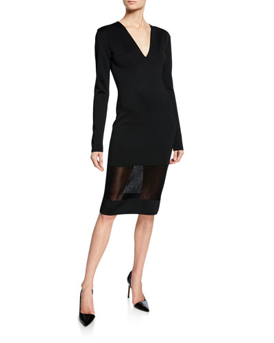 Long V-Neck Sheer-Hem Sweater Dress