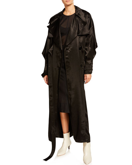 b2483a1ad7b Thierry Mugler Satin Tie-Front Long-Sleeve Trench Coat