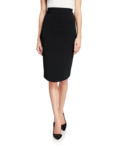 High-Waist Crepe Pencil Skirt