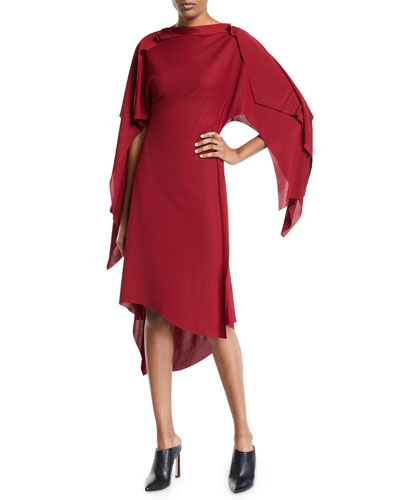 Interlocked Cape-Sleeve High-Low Dress