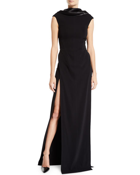 Mugler SATIN COWL-NECK CAP-SLEEVE GOWN