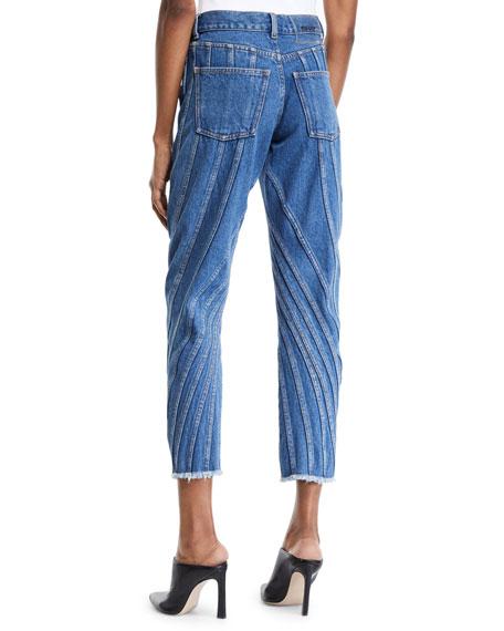 Seam-Striped Raw-Hem Straight Leg Jeans