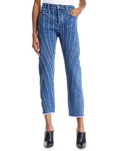 Seam-Striped Raw-Hem Straight Leg Jeans