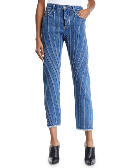 Mugler SEAM-STRIPED RAW-HEM STRAIGHT LEG JEANS